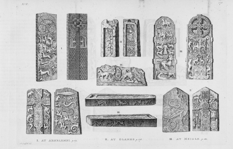 Engraving of Pictish cross slabs and symbol stones at Aberlemno, Glamis and Meigle. Plate from Thomas Pennant's 'A Tour of Scotland, 1772' (1776).