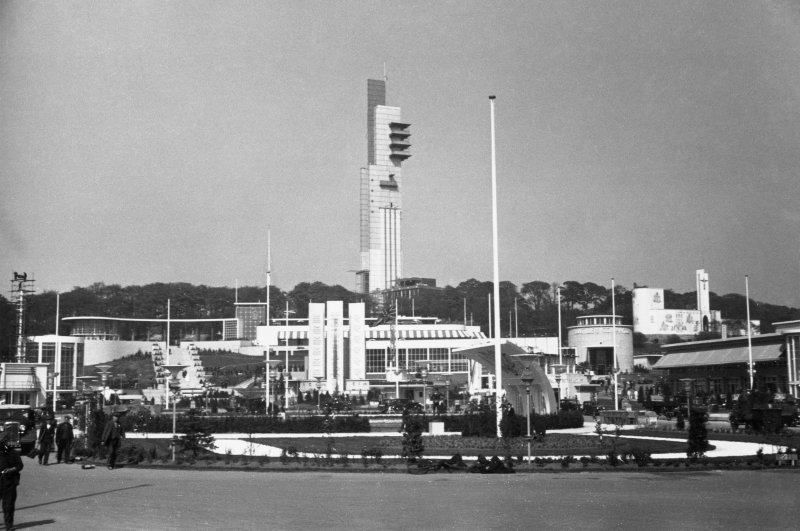 General view from Mosspark Boulevard Main Entrance showing Tower, Garden Club, Distillers Company Pavilion, South Bandstand and Catholic Pavilion.