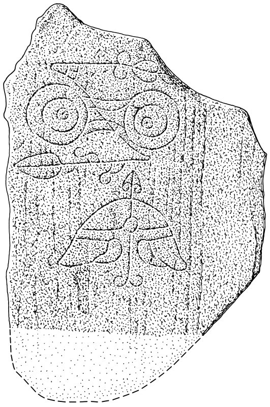 Scanned ink drawing of Congash 2 Pictish symbol stone.