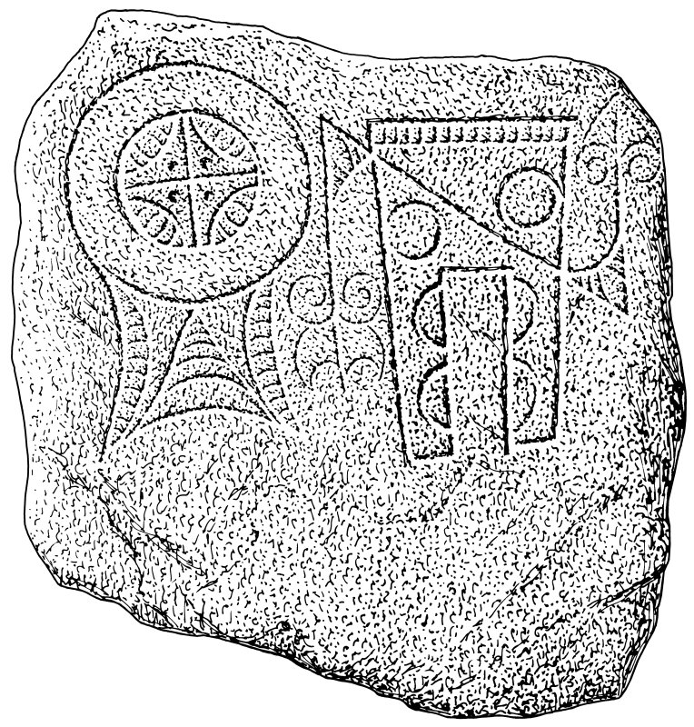 Scanned ink drawing of Pictish symbol stone, Arndilly