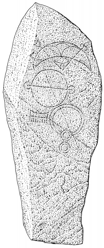Ink drawing of Inveravon Pictish symbol stone. (No.2)