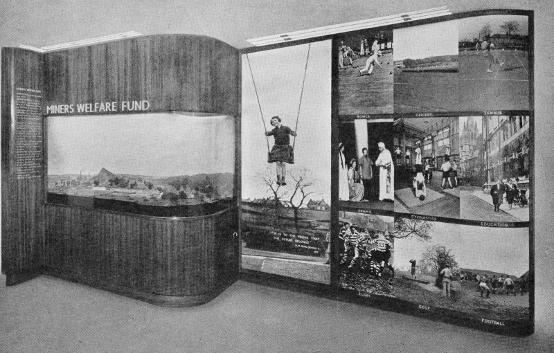 Scanned copy of image from annual report of Miners' Welfare Fund, 1938, Figure 8, Emprie Exhibition, Glasgow, 1938, Miners' Welfare Fund Exhibit