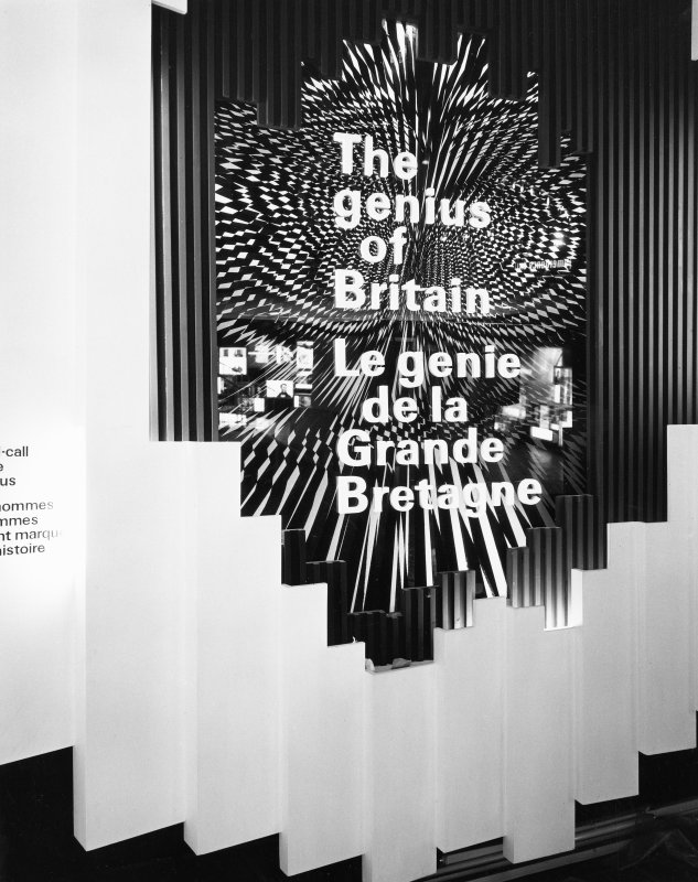Interior. Detail of the introduction panel to the Genius of Britain section of the British Pavilion at Expo 67.
