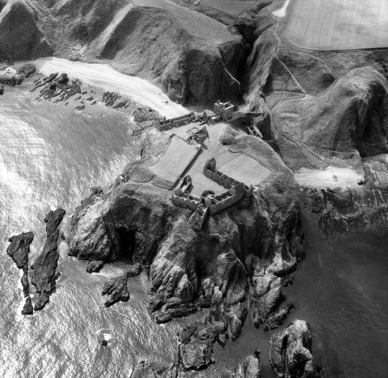 Oblique aerial view centred on Dunottar Castle.