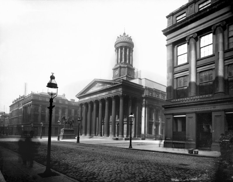 View of the Royal Exchange, the statue of Duke of Wellington and the Guardian Society Offices, Royal Exchange Square, Glasgow. The Royal Exchange now houses the Gallery of Modern Art.
