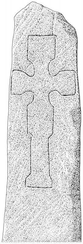 Scanned ink drawing of incised cross-slab