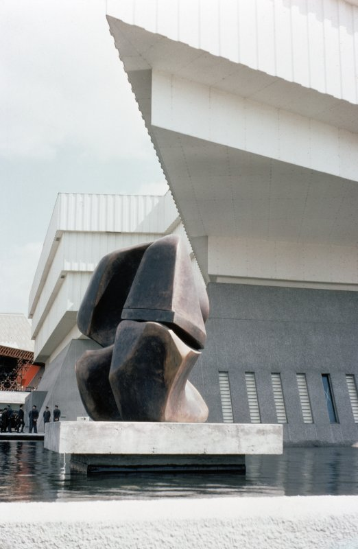 View of the British Pavilion and Henry Moore's Locking Piece sculpture.