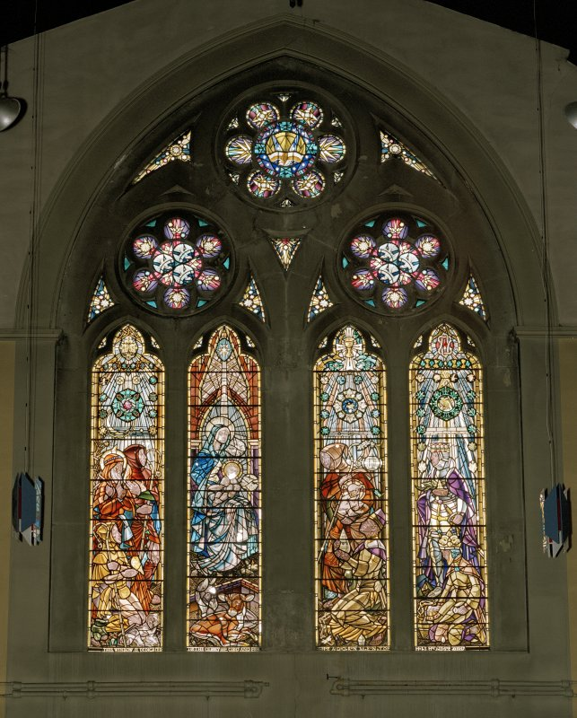 View of South stained glass window depicting the Adoration of the Magi by C Paine for Guthrie & Wells 1957.