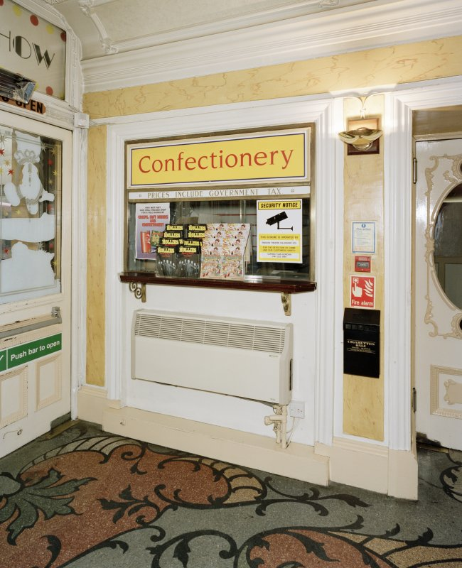 Interior view of foyer showing detail of confectionery kiosk, Pavilion Palace of Varieties, Glasgow.