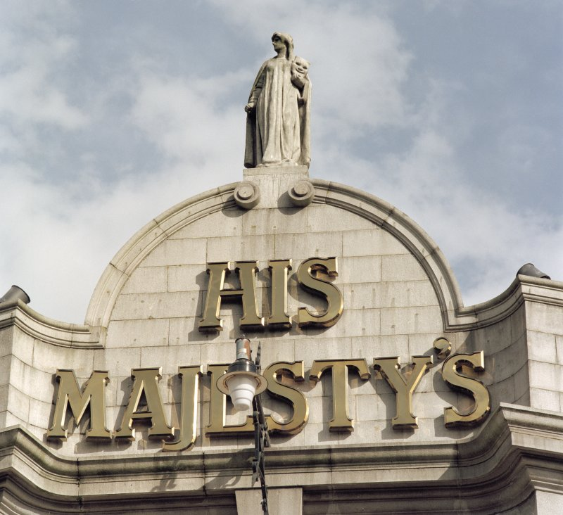 Aberdeen, Rosemount Viaduct, His Majesty's Theatre. Detail of statue and 'His Majesty's' sign on main facade.