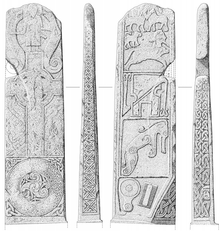 Scanned ink drawing of Maiden Stone Pictish Cross-slab