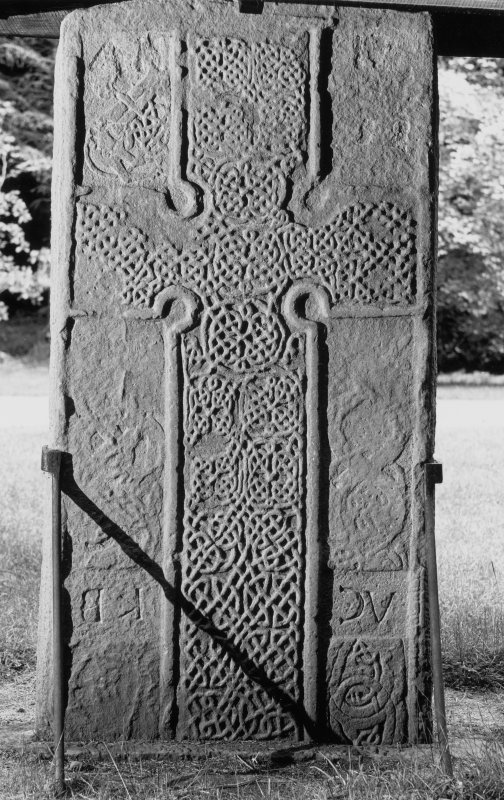 View of the face of the Rodney Stone Pictish cross slab, Brodie.