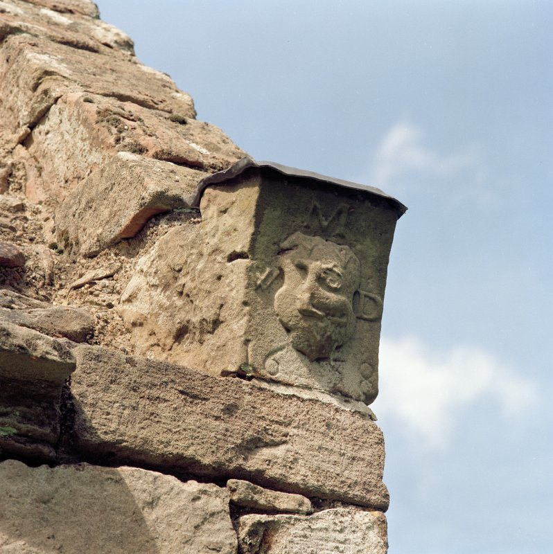 Detail of skewputt on South end of East gable.
