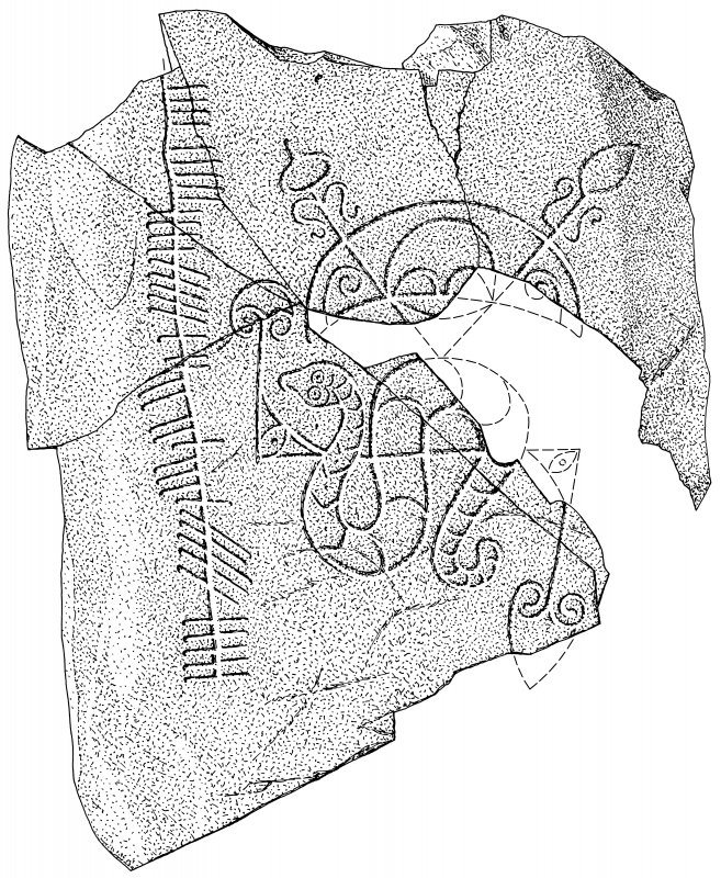 Scanned ink drawing of Pictish symbol stone.
