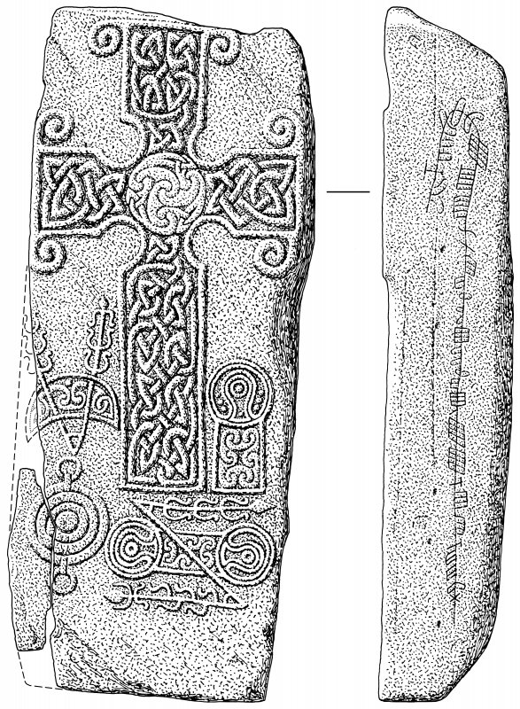 Scanned ink drawing of Pictish cross-slab and ogham inscription