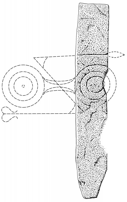 Ink drawing of Pictish symbol stone