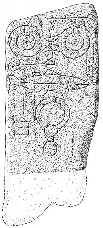 Scanned ink drawing of Keith Hall Pictish symbol stone