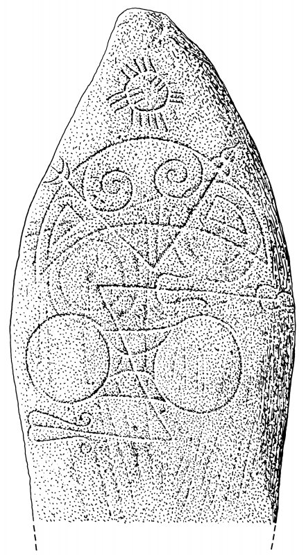 Scanned ink drawing of Logie Elphinstone 2 Pictish symbol stone