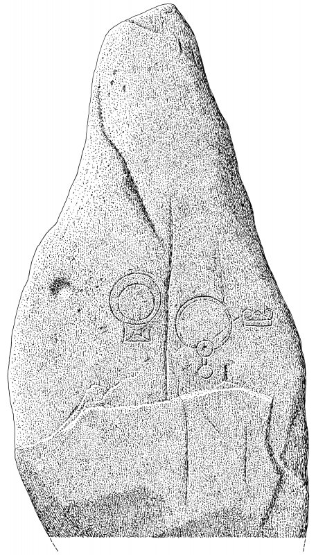 Scanned ink drawing of Nether Corskie Pictish symbol stone