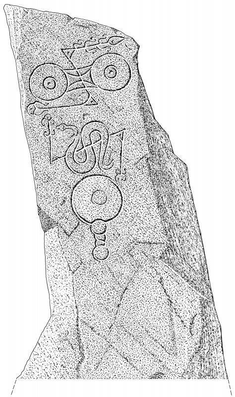 Scanned ink drawing of Picardy Stone Pictish symbol stone