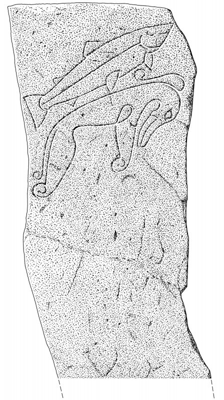 Ink drawing of Rhynie Pictish symbol stone. (No.1)