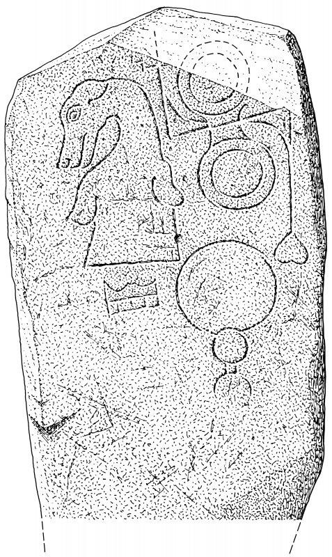 Scanned ink drawing of Rhynie 5 Pictish symbol stone