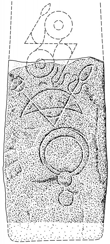 Scanned Ink drawing of Rhynie 6 Pictish symbol stone
