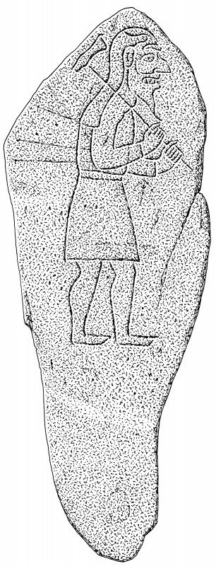 Ink drawing of Rhynie Pictish symbol stone. (No.7)