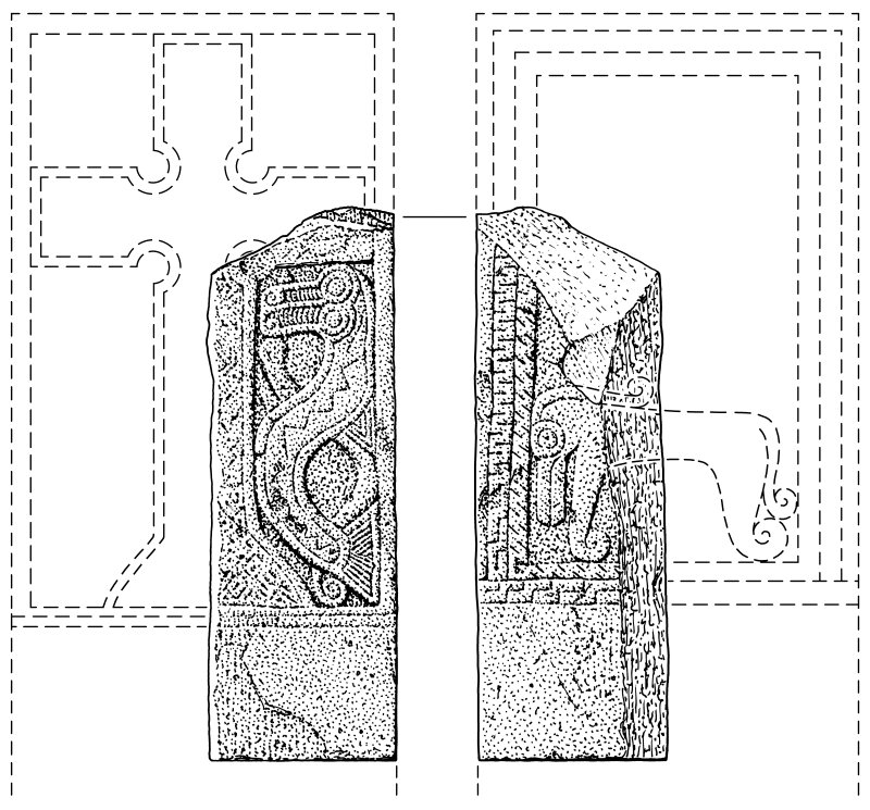 Scanned ink drawing of Tealing Pictish cross-slab fragment.