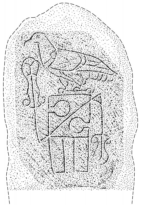 Scanned ink drawing of Tyrie Pictish symbol stone