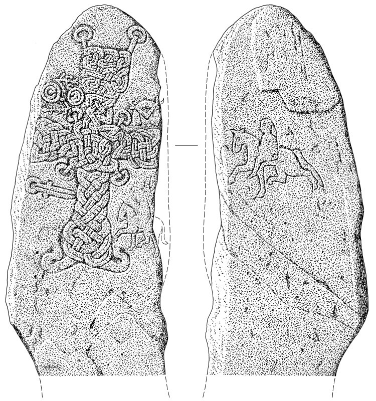 Scanned ink drawing of Migvie Pictish cross-slab
