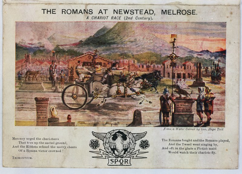 Digital copy of souvenir postcard, 'The Romans at Newstead, Melrose', depicting a chariot race at the fort.