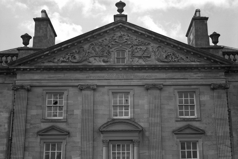 Detail of pediment on East elevation.