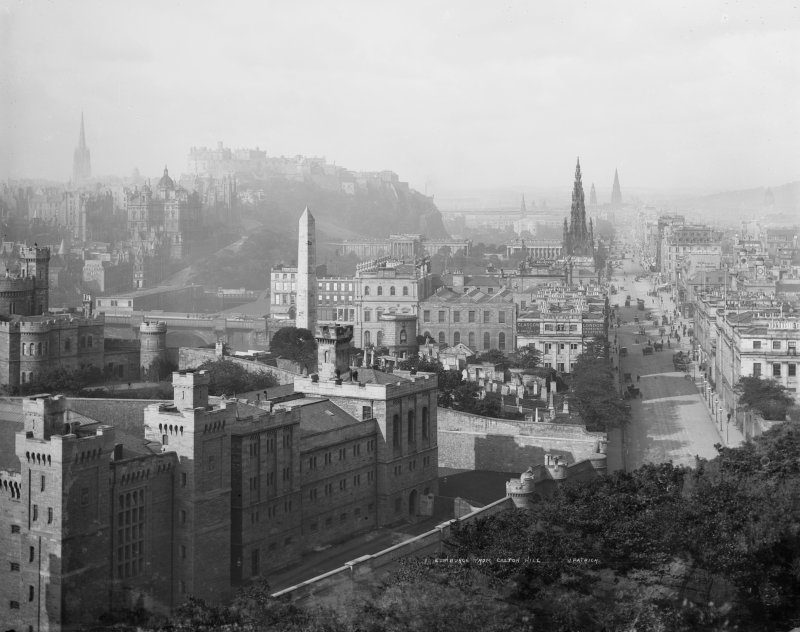 Historic view of Princes Street, Calton Gaol and Edinburgh Castle, seen from Calton Hill. Insc: 'Edinburgh from Calton Hill, J.Patrick'.