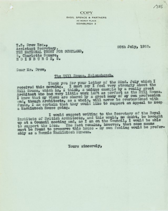 Letter from Basil Spence to the National Trust for Scotland, relating to Hill House, Helensburgh.