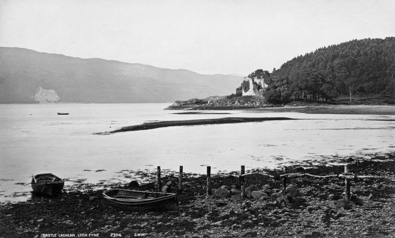 Digital copy of historic photographic view of Castle Lachlan. Insc: 'Castle Lachlan. Loch Fyne. 2304. G.W.W.'