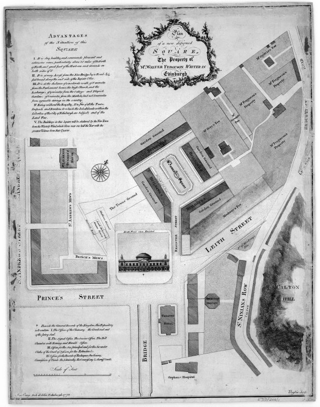 St James Square Plan by James Craig Titled: 'Plan of a new designed square.  The property of Mr Walter Ferguson  Writer in Edinburgh'
