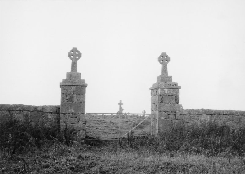 View of entrance gateposts.