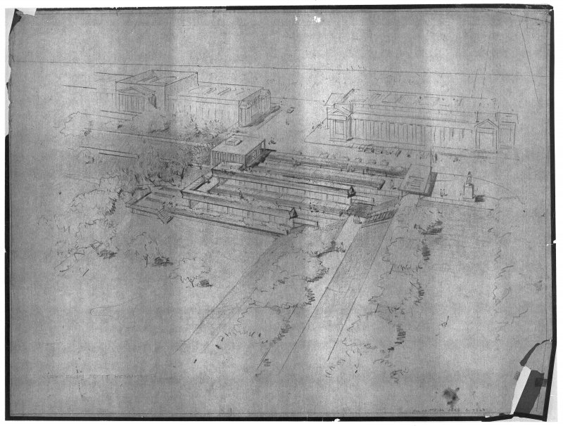 Edinburgh, The Mound, Exhibition Gallery. Photographic copy of aerial perspective. Insc: 'View from Scott Monument'.