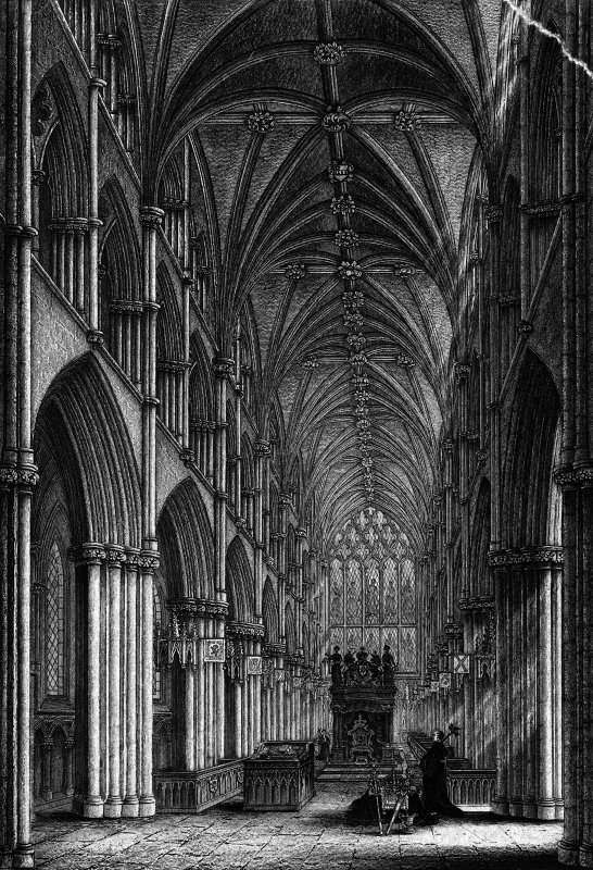 "Photographic copy of engraving showing interior view of Holyrood Abbey Insc. ""Chapel Royal at Holyrood. Restored as it was in the reign of James VII. Restored by N.Tennant, Archt. Engraved by J.West.  Drawn & Engraved for D.Anderson 1849."""