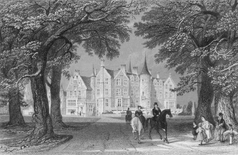 Engraved view of house.
