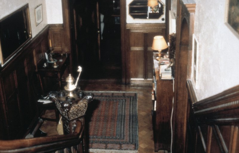 Glasgow, 1 Princes Terrace, interior Detail of stairs and hall including wooden flooring and oak panelling.
