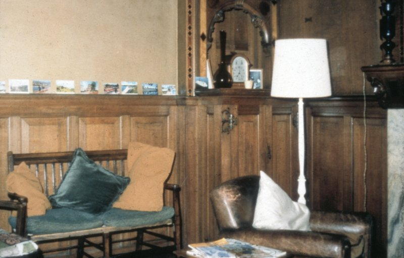 Glasgow, 1 Princes Terrace, interior Detail of oak panelling and oak cupboard in living room.