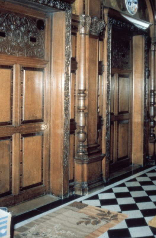 Glasgow, 1 Princes Terrace, interior Detail of carved oak door and door frame in hall.