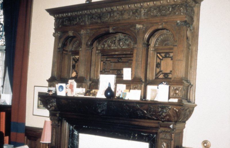 Glasgow, 1 Princes Terrace, interior Detail of carved oak overmantel.