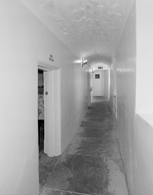 Interior, basement, corridor, view from east