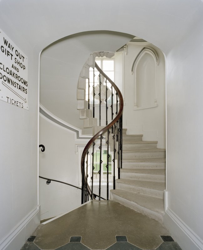 Spiral staircase to basement, interior view from North