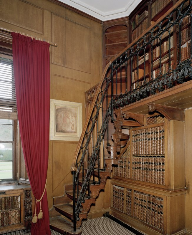 Study, interior view of stair leading to landing.