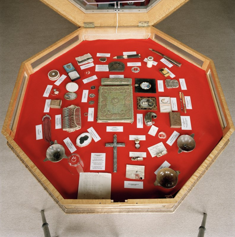 Library, interior, detail of octagonal display case with Sir Walter Scott artifacts.