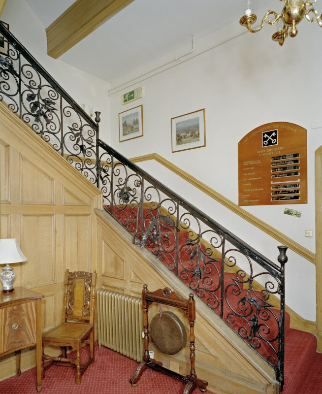 Interior. Entrance hall showing late 17th century wrought-iron staircase.